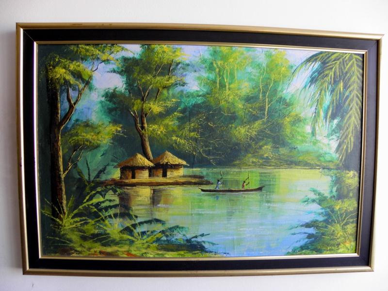 Originalana afrička umetnička slika, ulje na platnu, poreklo Južna Afrika