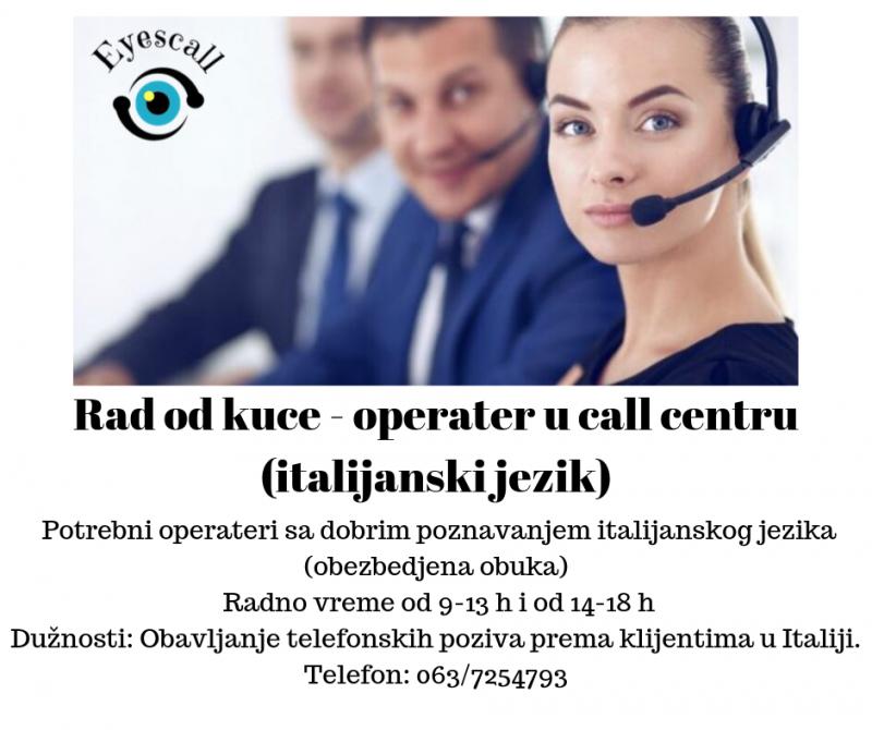 Operater u call centru - rad od kuce (italijanski jezik)